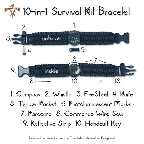 10-in-1 Survival Kit Bracelet: Compass, Whistle, FireSteel, Knife, Tender, Light, Paracord, Saw, Mirror, & Handcuff Key