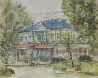 Antique Watercolor by J.P.Reinon/Paris Restaurant in front of Grand Palais Museum / Ledoyen