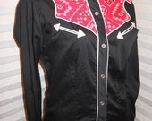 SALE Vintage Small Black, Red and White Western Shirt by Avante West