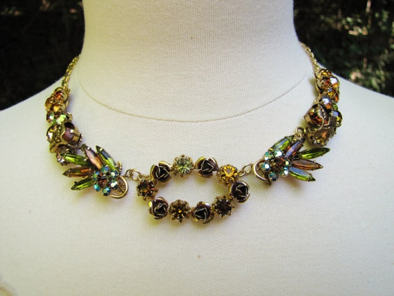 Appalachia Autumn- Vintage Assemblage Statement Necklace- rhinestone Fall Colors- One of a Kind