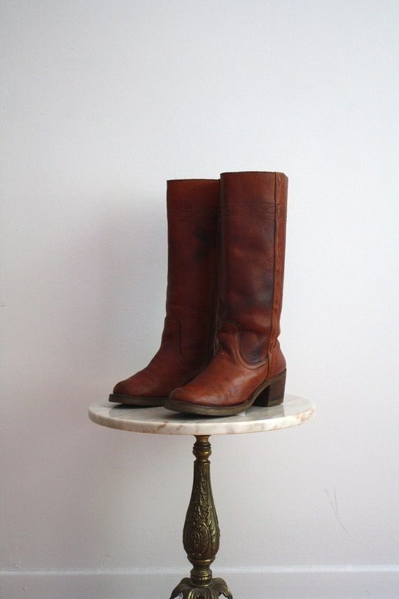 CAMPUS Boots Leather Brown Red - Women's 7.5 - 1960s VINTAGE