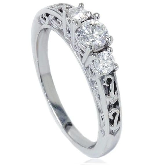 Vintage Antique Three Stone .38CT Diamond Ring 14K White Gold Size 4-9