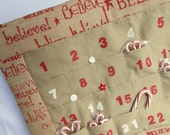BELIEVE Christmas Advent Calendar in Printed Burlap / Can be Personalized / Christmas Countdown Calendar with Pockets