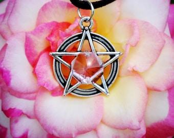 Pink Prism Pentacle Necklace, Pagan Amulet, Wiccan Pentagram Pewter Charm Talisman