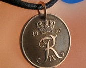 R monogram necklace DENMARK COIN jewelry. coin necklace . r charm. 5 Ore Coin. fob Pendant fob . danish crown. Choose Year No.001244