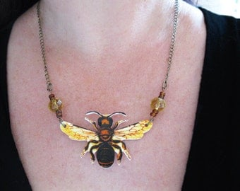 Yellow Golden Gift Garden Bumble Bee Necklace Brown Nature Jewelry
