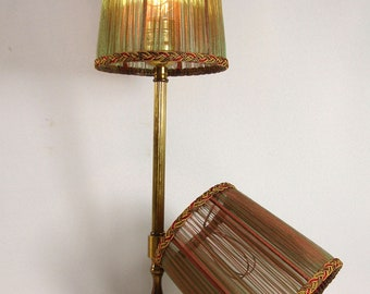 Lamp Shades PAIR Iridescent Rust & Green Hand Made Small Silk
