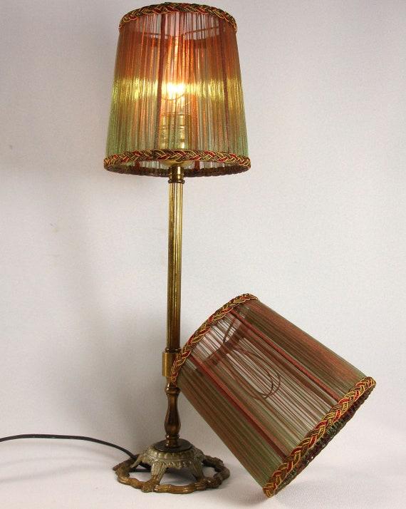 Lamp Shades PAIR Iridescent Rust & Green Hand Made Small Silk