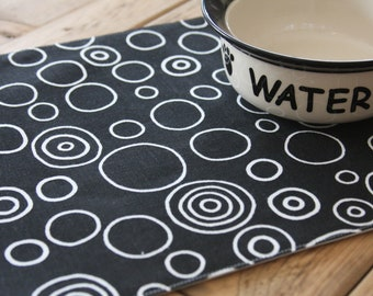 Pet Placemat - Black with White Circles: Small Size