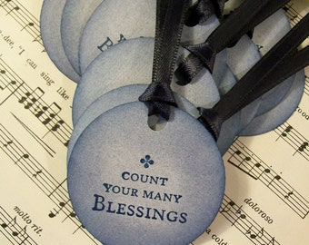 Religious Tags Christian Tags Count Your Many Blessings in Blue Set of 6