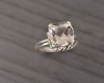 Morganite Ring, size 7.5, 4ct cushion silver solid gold engagement solitaire - Darcy Ring