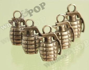 5 - 3D Antique Bronze Grenade Charms, Grenade Charm, 22mm x 13mm x 100mm (R2-159)