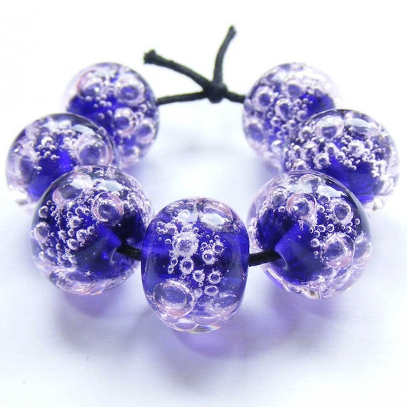 Handmade lampwork bead set of 7 purple and pink glass bubble beads