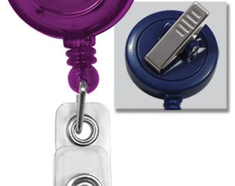 25 Pack Lot - Translucent Purple Premium ID Badge Reels with Alligator Swivel Clip (2120-7623-Q25)