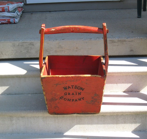 Large Primitive 1800s Wooden Grain Bucket / Yoke Handle/ WATSON Grain Co. / Old Red Paint, Metal Repairs