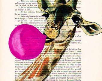 Happy Giraffe art print, acrylic painted bubblegum, giraffe wall art, giraffe déco, gift for kids, cute chrismas idea, giraffe print