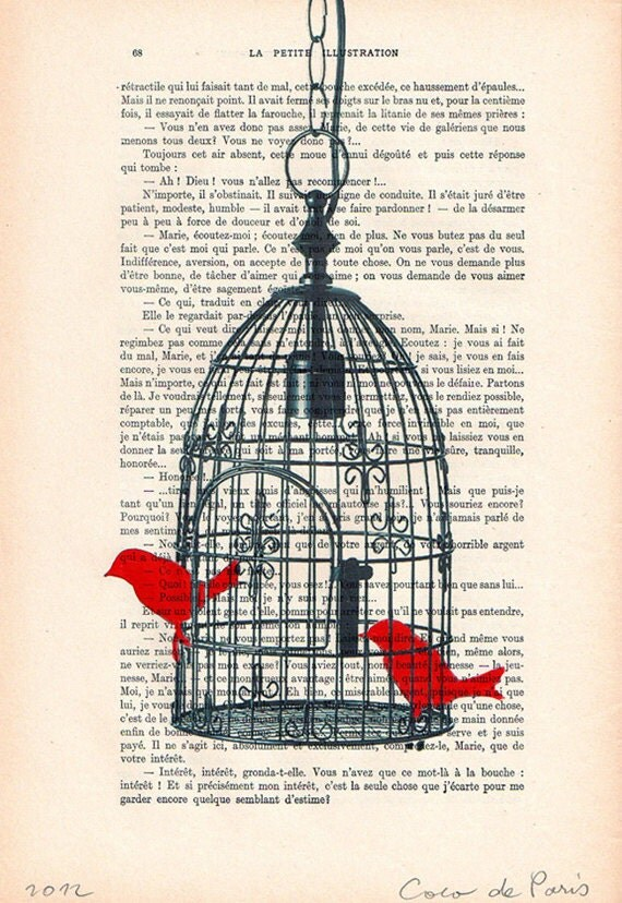 Birdcage with 2 birds - Original Illustration-Art Print-Art Poster- Hand Painting Mixed Media- French 1920 Vintage Paper