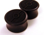 """Ebony Ball Wooden Plugs PAIR 2g 0g 00g 000g 7/16"""" (11mm) 1/2"""" (13mm) 9/16"""" (14mm) 5/8"""" 16 mm 17.5mm 3/4"""" 7/8"""" 1"""" and up Wood Poke Gauges"""