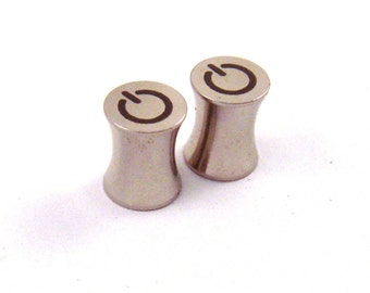 """Turn On 316L Steel Power Button Plugs - Double Flared - 2g 0g 00g 7/16"""" (11 mm) 1/2"""" (13mm) 9/16"""" (14mm) 5/8"""" (16mm) Symbol Metal Gauges"""