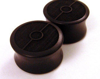 "Ebony Ball Wooden Plugs PAIR 2g 0g 00g 000g 7/16"" (11mm) 1/2"" (13mm) 9/16"" (14mm) 5/8"" 16 mm 17.5mm 3/4"" 7/8"" 1"" and up Wood Poke Gauges"