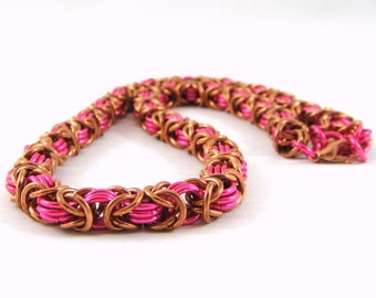 Byzantine Chainmaille Necklace Copper Pink Chainmaille Necklace Byzantine Necklace Chain Mail Jewelry Byzantine Chainmaille, Copper Necklace