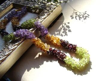 Amethyst Peridot Citrine Garnet Wire Wrapped Gemstone Necklace