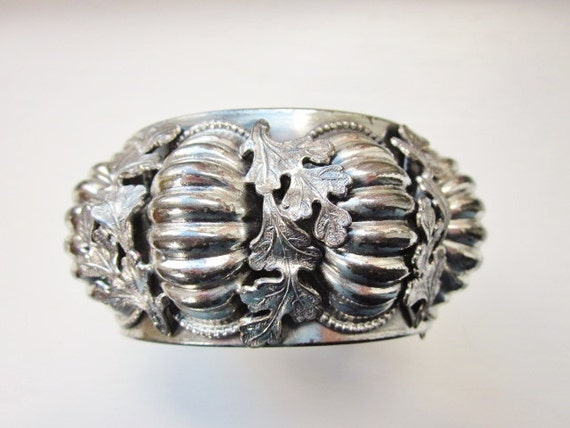 Vintage Statement Bracelet Wide Bangle Chunky Silver Modernist Leaves Runway 1960s Jewelry