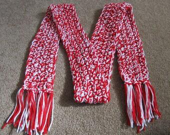Red & White Crochet Scarf