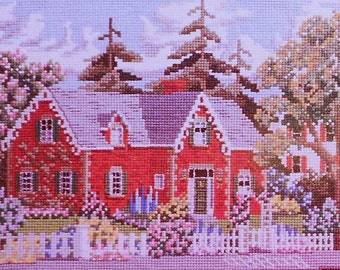 Julia Lucas The RED BRICK HOUSE At The Corner Neighborhood Picture - Counted Cross Stitch Pattern Chart - fam