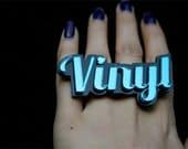 Custom Cursive Font 3 Name Plate Ring