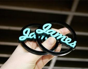 Custom Word Hoop Earrings Cursive Font 4(Laser Cut Acrylic)