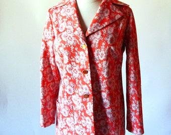 Vintage Orange 70s Jacket, Polyester Flower Print Graff Poly Blazer
