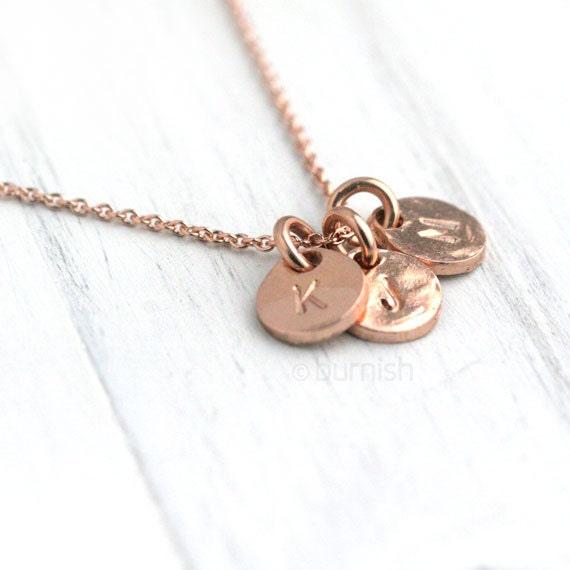 rose gold vermeil monogram necklace    initials hand stamped