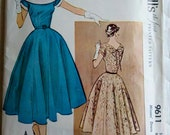 """1950s Vintage Womens Sewing Pattern Flared Skirt Evening Dress McCall's 9611 Size 16 Bust 34"""""""