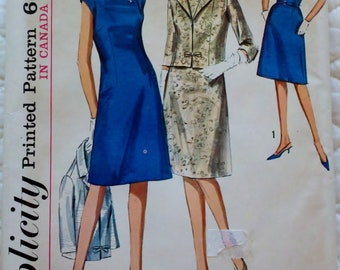 "Vintage 1960s Womens Sewing Pattern Mad Men Sheath Dress and Jacket Simplicity 6245 Bust 39"" UNCUT"