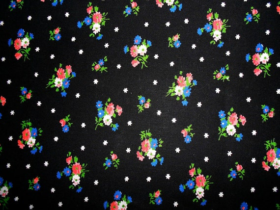 SALE: Vintage Black Fabric with Mini Bouquets in Pink, Red, Blue and White Fabric