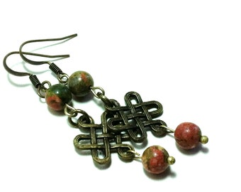 "Unakite and Celtic Knot Brass Earrings ""Together Forever"""