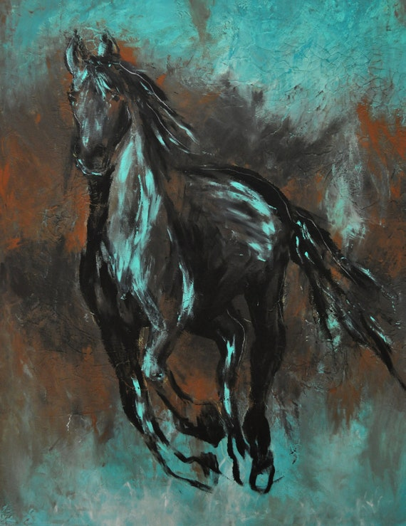 Paper Print Contemporary Black Western Horse Art in turquoise and black beautiful modern print Cowboy Western art
