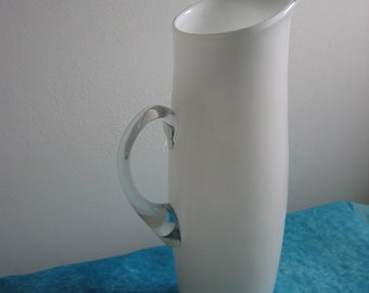 Vintage White cased Glass Pitcher.  Mid century modern,  Danish Modern, Eames era.