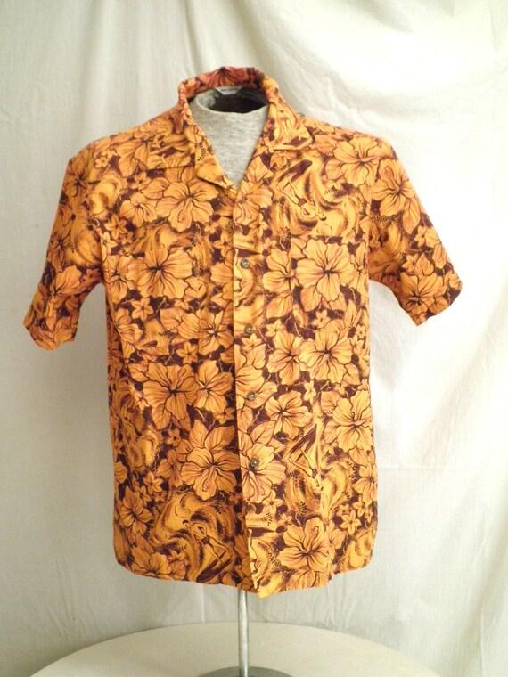 1950s Vintage Surfer Print Cotton Hawaiian Shirt 46 chest mad men hawaii