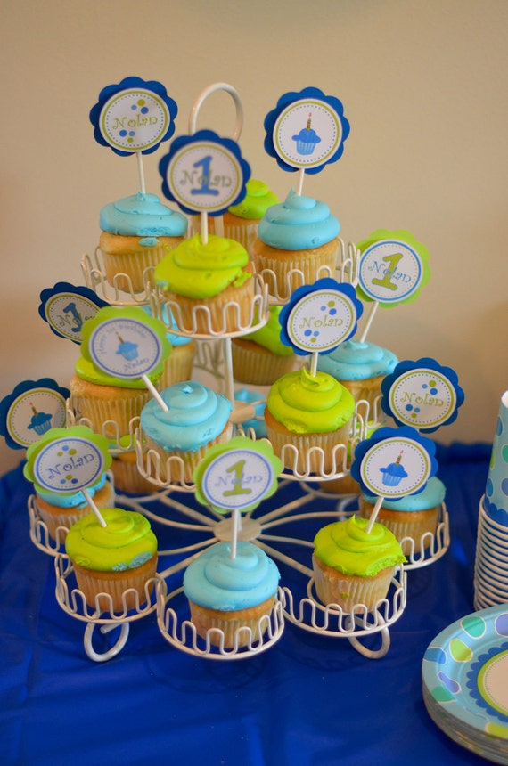 Cupcake Toppers- Baby's First Birthday - One Dozen- Sweet Little Cupcake Boy