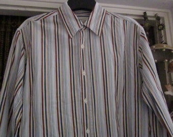 Men's Striped Long-Sleeved Buttons Shirt, Striped in Burgundy, Navy Blue, Grey and Tan, Large