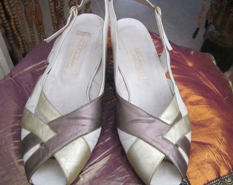 Made in Italy - Genuine LEATHER Peep Toe Sandals Shoes Shaded Gold, Copper and White, Size 10 (European: 42)