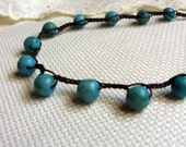 Beaded Crochet Necklace with Jasper Beads, turquoise and brown shades, Boho Chic
