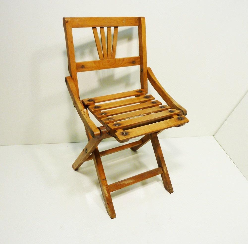 40s Vintage Childs Wooden Folding Chair Slat Seat Back