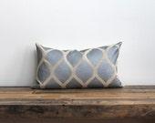 Aya lumbar pillow cover hand printed in metallic pewter on natural ecru organic hemp
