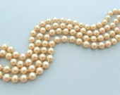 "Champagne Pearl Necklace, 36"" Opera Length, Imitation"