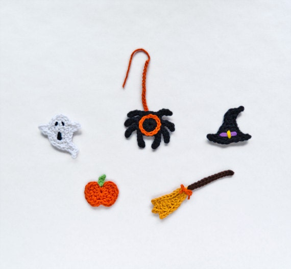 Instant Download - PDF Crochet Pattern - Halloween Set Applique - Text instructions and SYMBOL CHART instructions