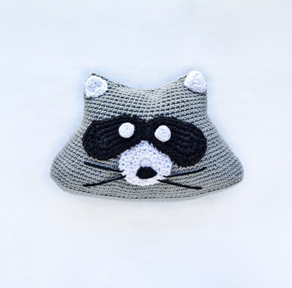 Instant Download - PDF CROCHET PATTERN - Raccoon Pillow  -  Permission to Sell Finished Items