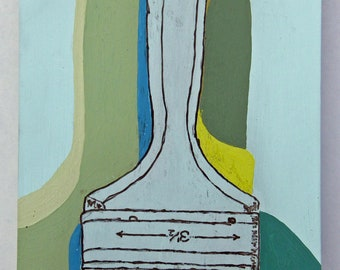 Brush with Shadows, vintage paint brush in blues,greens on upcycled wood, wall hung original art
